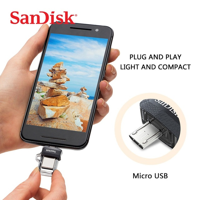 Unidad Flash SanDisk D3 USB 3,0 OTG 128GB 64GB 32GB 16GB Pendrive memoria Pendrive para ordenador/Android Micro