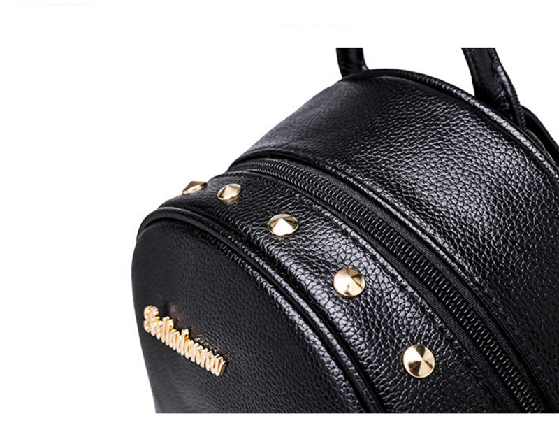 2019 Women Preppy Style Panelled Color Print Backpack Black Studded PU Faux Leather School Bag Small Fashion Rivet Travel Pack (8)