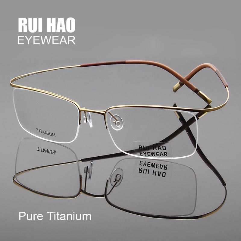 Pure Titanium Eyeglasses Frames Ultralight High Elasticity Optical Glasses Frame No Screw Design Half Rimless Spectacles 5296