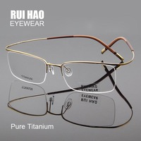 f816d4066b83df Pure Titanium Eyeglasses Frames Ultralight High Elasticity Optical Glasses  Frame No Screw Design Half Rimless Spectacles
