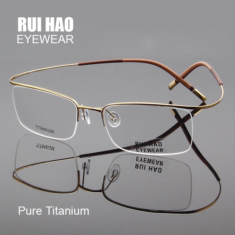 Pure Titanium Eyeglasses Frames Ultralight High Elasticity Optical Glasses Frame No Screw Design Half Rimless Spectacles 5296 in Men 39 s Eyewear Frames from Apparel Accessories