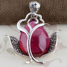 Thai silver wholesale S925 silver inlaid red corundum pendant antique style female rose sweater