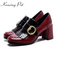 2017 г. модная женская брендовая обувь высокий каблук натуральная кожа металлической пряжкой кисточкой Полые без шнуровки женские туфли-лодочки обувь для деловой женщины L18