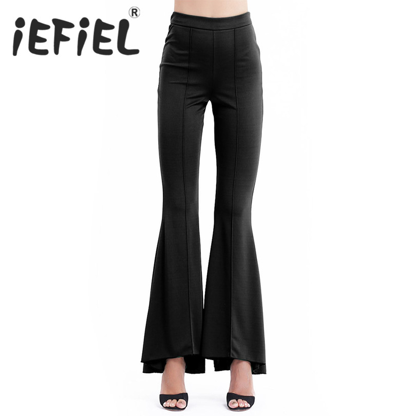 iEFiEL 2018 Fashion Women Female Mid Waist Slim Fit Solid Stretchy Bell Bottom Wide Leg Palazzo Pants Hot Sale Flare Trousers