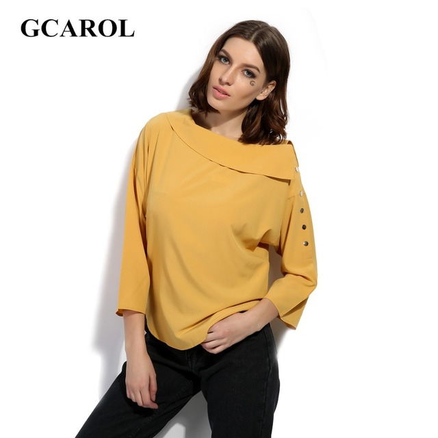 GCAROL 2017 Women New Arrival Slash Neck Shirt Oversize Blouse Fashion 3/4 Sleeve Tops High Quality Female Blouse For 4 Season