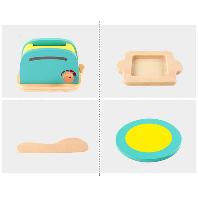 Cute Breakfast Kit of Toaster, Milk, Bread, Butter