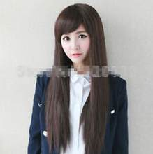 "WIG 32"" Fashion Womens Long Straight Smooth Full Bangs Anime Cosplay Party Hair wigs Free Shipping(China)"