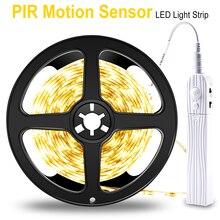 Wireless PIR Motion Sensor LED Night Light 5V Led Strip Light 2835SMD 1M 2M 3M Battery Waterproof LED Tape TV Backlight Lighting