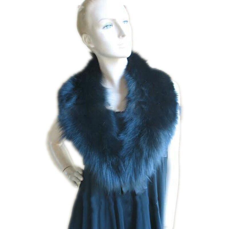 Dámské opravdové kožešinové límce dámské zimní teplý šátek šátek / zábal / BLUE 91cm * 17cm