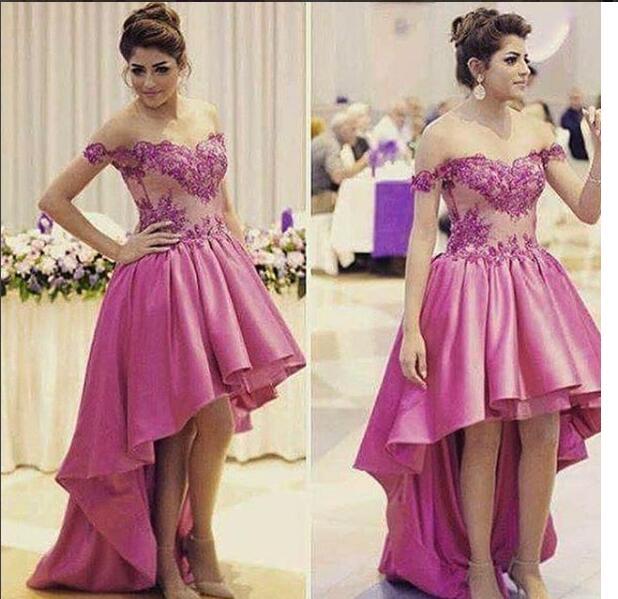 2017 Elegante Asimétrico Púrpura Vestido de Noche Dubai Arabia ...