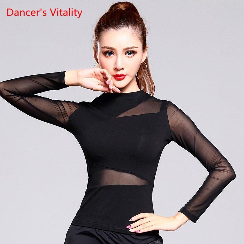 Performance Solid Black Latin Dance Top For Women Gauze Long Sleeve Tops Sexy Ballroom Costume Performance Latin Dancing Wear