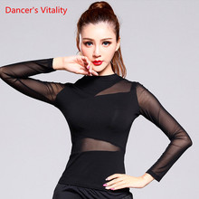 performance Solid Black Latin Dance Top For Women Gauze Long Sleeve Tops Sexy Ballroom Costume Performance Latin Dancing Wear