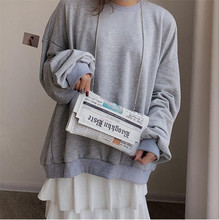 Wholesale Newspapers modeling day clutch bags letter envelope bag casual shoulder purse evening Drop Shipping