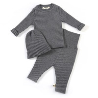 Baby Toddler Girls Boys Ribbed Knitted Pullover Top With High Waist Pants With Hat 3 Pieces Sets Baby Cute Set Clothing 062