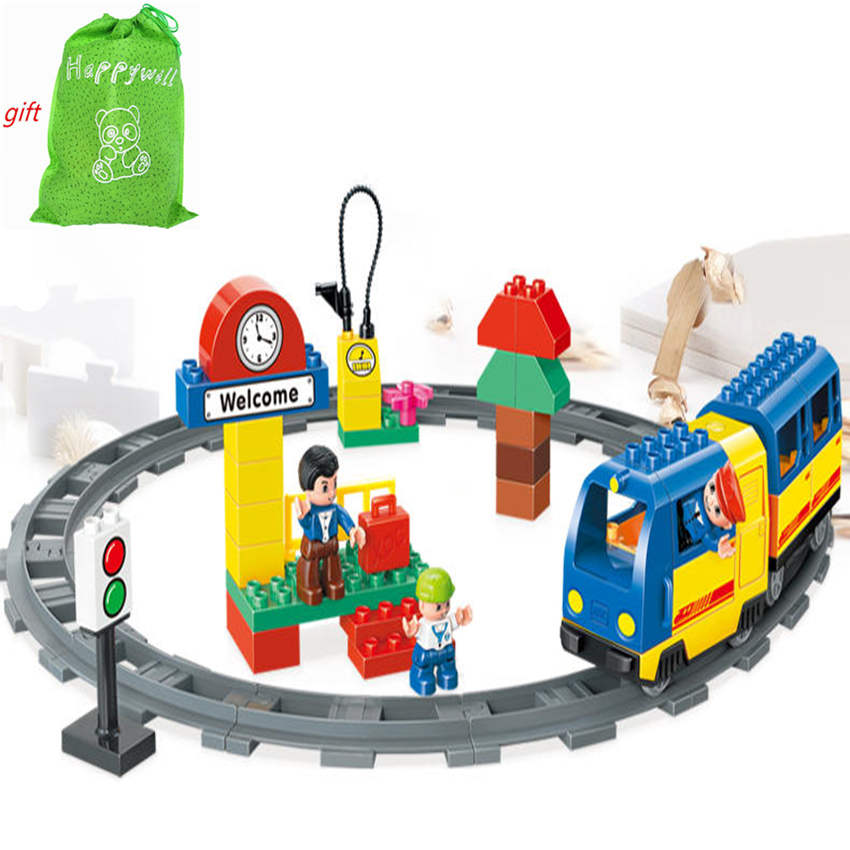Happywill HM328 51 Pcs Railway Track Electric Train Model Block Set Education Baby Toys Train Conductor Compatible 78pcs hand crafted wooden train set triple loop railway track kids toy play set
