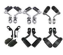 Motorcycle 1.25 Long Angled Streamline Footpegs &Mount For Harley Touring Chrome/Black