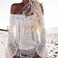 2017 Boho Women Off Shoulder Long Sleeve Tops Shirts Blusas Lace Floral Crochet Hollow Out Solid