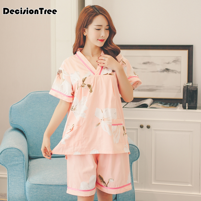 Flowers Kimono Women Pyjamas Sets  Gauze Cotton Breathable Japanese Kimono Spa Pajamas Sets Women Bathrobe