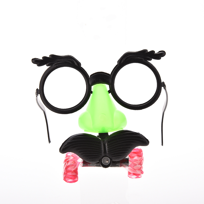1PCS Hot Selling New Design Humor Toy Funny Clown Glasses Costume Ball Round Frame Red Nose Whistle Mustache Baby Toy