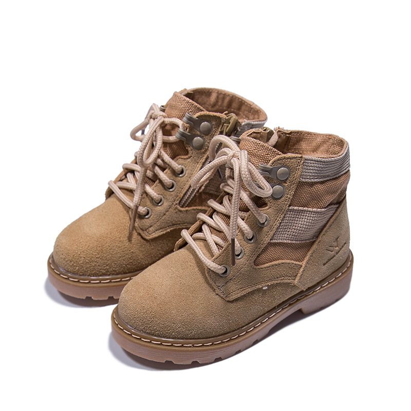High Quality Child Shoes 100% Cowhide Kids Martin Boots Boys Girls Fashion Comfortable Casual Students Shoes Leather Boots KS231