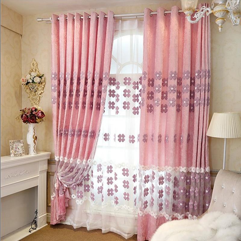 Helen Curtain Modern Chenille Embroidered Splice Pink Flower