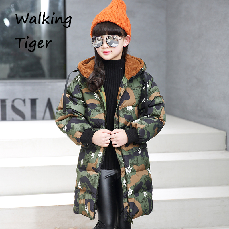 Children girls down jacket clothing fashion camouflage coats  thick cotton clothes kids winter 2017 newgirl warmer Outerwear lavensey original new children thick cotton turn down collar fashion coats for girl baby clothing free shipping