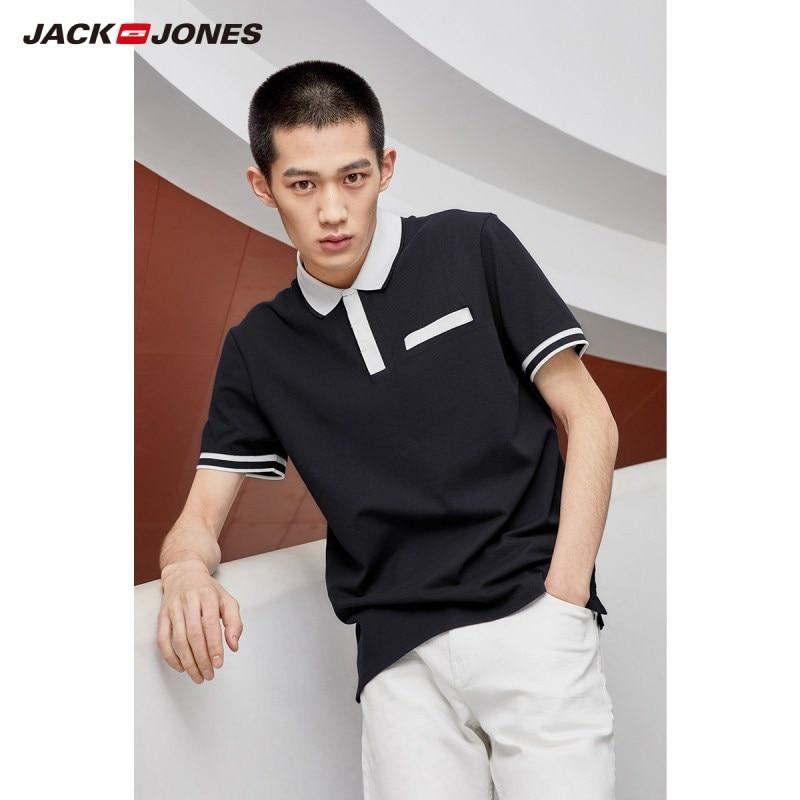 JackJones Men's Cotton Polo Contrasting Turn-down Collar Straight Fit Style Short-sleeved Poloshirt 219206502