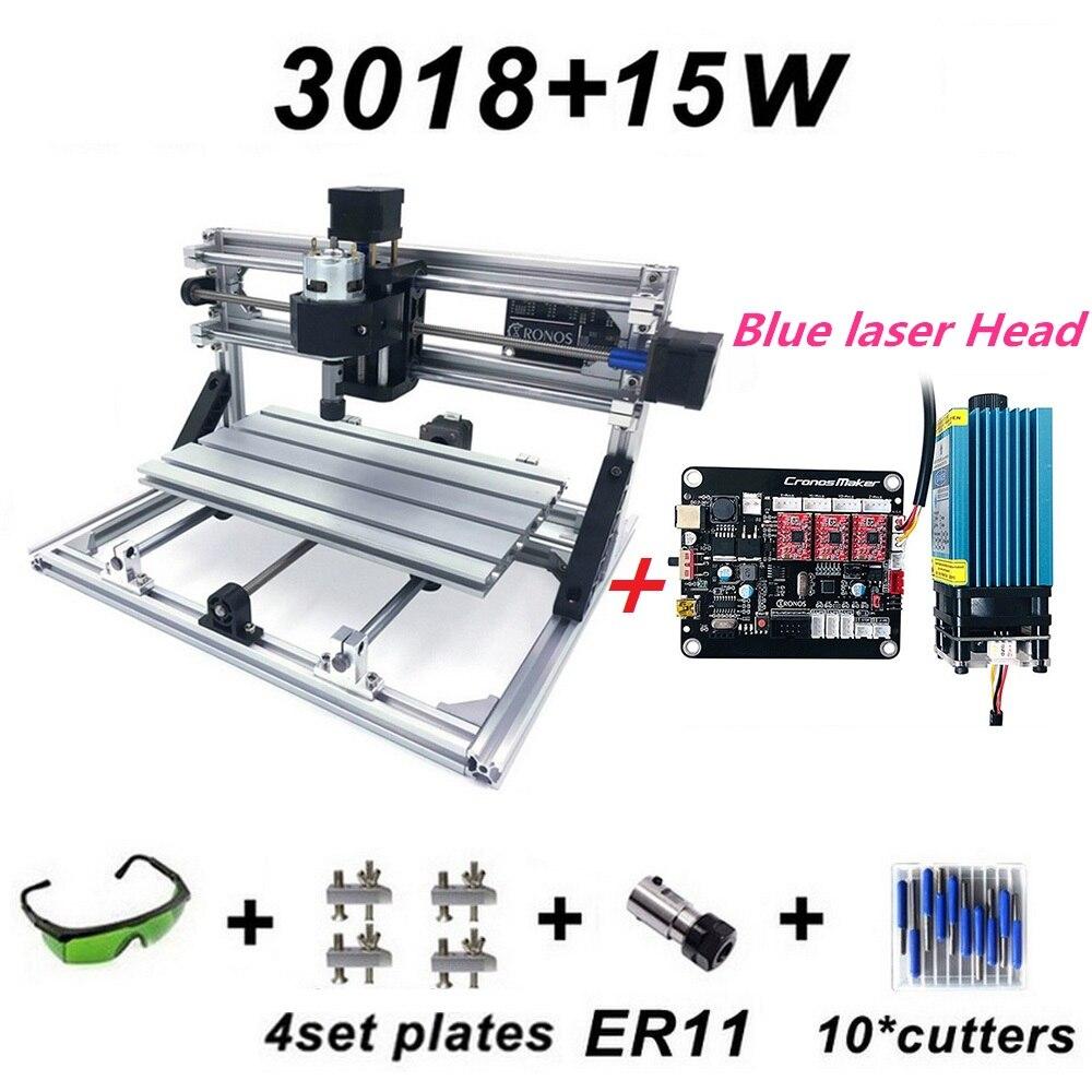 15 W nueva CNC3018 máquina de grabado máquina de ER11 con 500 mw, 2500 mw, 5500 mw, 15000 mw láser azul de madera de cabeza fresadora de enrutador PCB