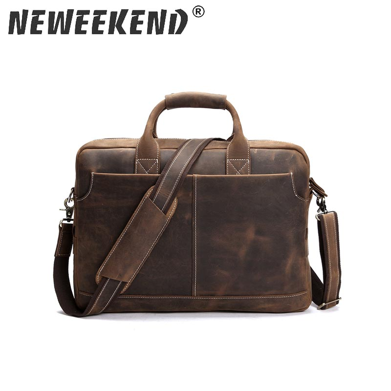 NEWEEKEND Retro Casual Leather Crazy Horse Multi-Pocket 15.6 Inch Cowhide Handbag Crossbody Laptop Briefcase Bag For Man 1019