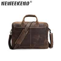 NEWEEKEND Retro Casual Leather Crazy Horse Multi-Pocket 15.6 Inch Cowhide Handbag Crossbody Laptop Briefcase Bag for Man 1019