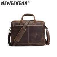 NEWEEKEND rétro décontracté cuir Crazy Horse multi-poches 15.6 pouces cuir de vachette sac à main bandoulière sacoche pour ordinateur portable sac pour homme LS-0179