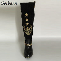 Sorbern Black Low Heels Round Toe Knee High Boots Luxury Embroidered Army Boots Women Winter Shoes Women With Chain 2018 New