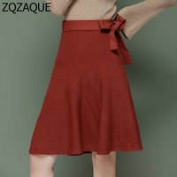 Temperament High Waist Lady A Line Knitting Skirts Bow Knot Lace Up Decorated Elastic Waist Women