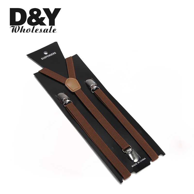 Women Men Suspender Clip-On Elastic Braces Slim Suspender For Trousers Pants Holder Braces Y-Back 1.5cm Wide Light Brown