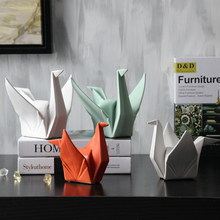 2019 New Nordic Creative Modern Abstract Ceramic Origami Statue Animal Figurine Sculpture For Home Decorations Gifts 1