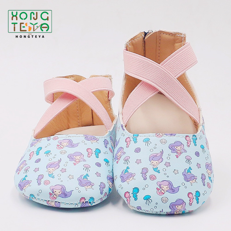 Spring Baby Girls Ballet Flat Shoes Princess Baby Mermaid Pattern Rubber Non-Slip Shoes Infant Toddler Mary Jane Party  Footwear