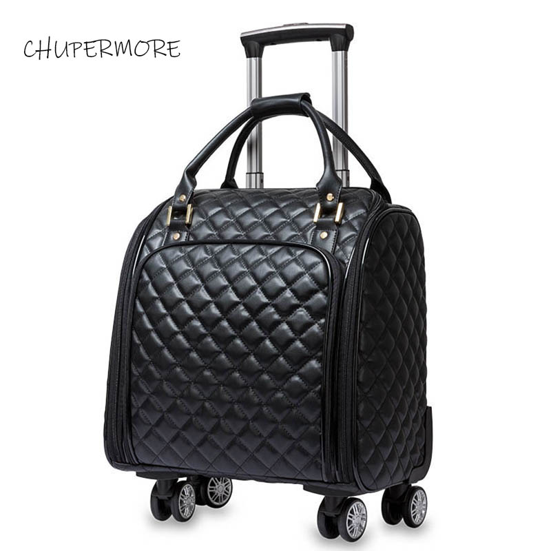 100% luxury PU leather Rolling Luggage Spinner 16 inch Brand Suitcase Wheels Carry On Trolley Travel Bags