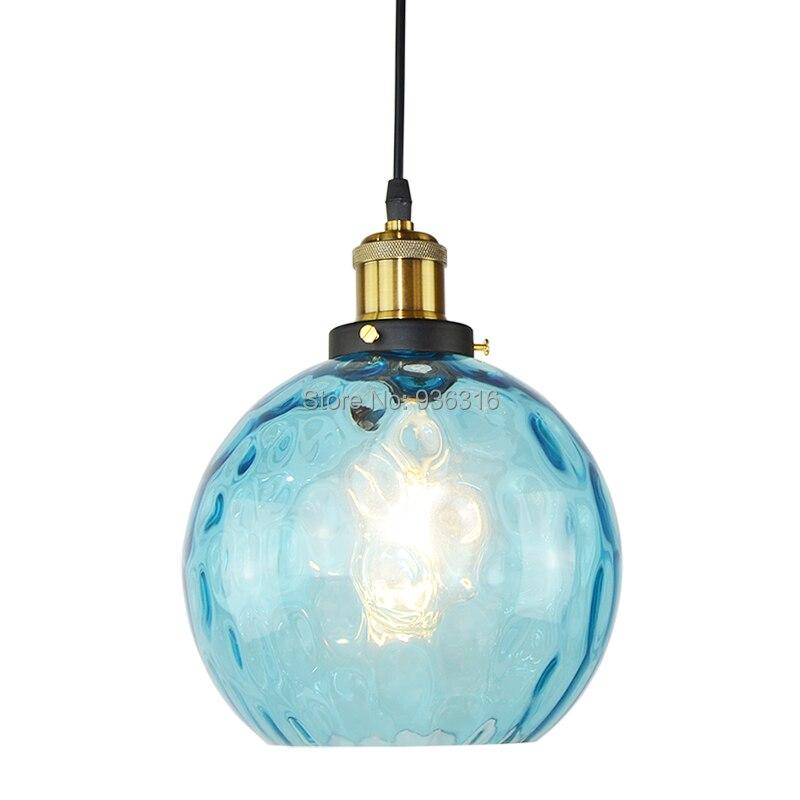 цена на Modern Globe Art Deco Pendant Light Loft Blue Glass E27 Edison Bulbs For Coffee Shop Restaurant Pendant Lamp Fixture