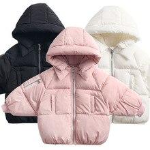 2 6Yrs Casuais das Crianças Outerwear Casaco Menina Quente Frio de Inverno Casaco Com Capuz Crianças de Algodão Acolchoado Crianças Roupas Quentes Para Baixo jaqueta