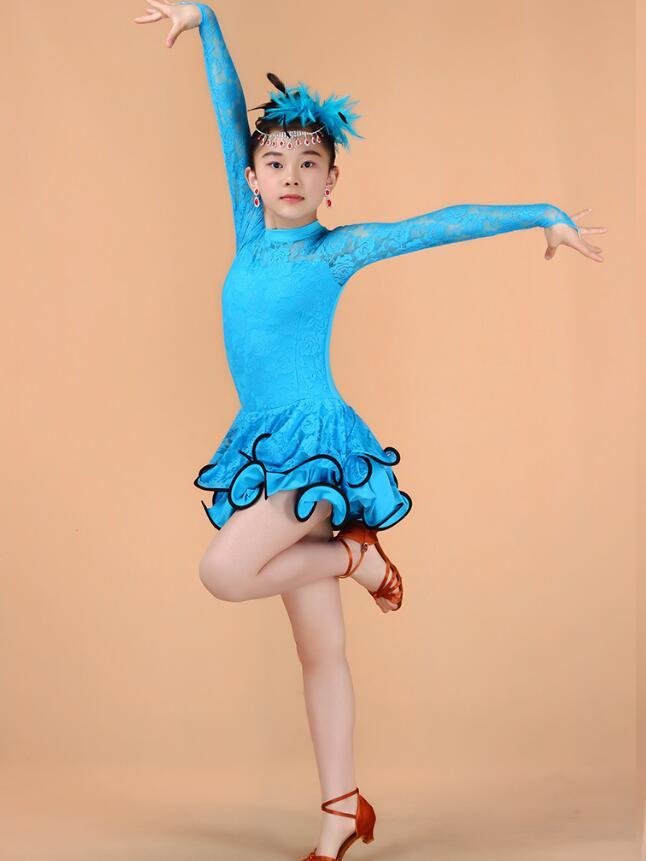 Кружевное платье с длинными рукавами для девочек, одежда для латинских танцев, стандартное детское платье для латинских танцев, детские костюмы для сальсы, бальных танцев - Цвет: Синий