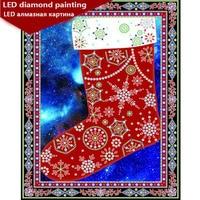 new LED Light Full Round Drill 5D DIY Diamond Painting Santa sock 3D Embroidery Cross Stitch Mosaic Decor Gift 30x40cm