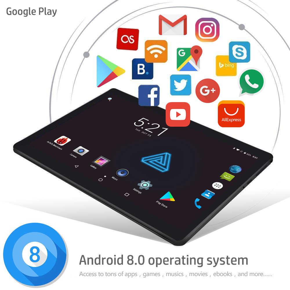 10 بوصة اللوحي 4 GB RAM 64 GB تخزين الثماني النواة الروبوت 8.0 مقفلة 3G 4G FDD LTE 2.5D الزجاج 1280x800 IPS جوجل اللعب مخزن