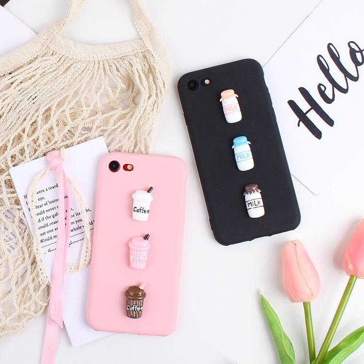 3D Cute Milk Candy Case For LG K7 K8 K10 K4 2017 K10 2018 Euro G5 G6 G7 Q6 Plus Q6A Q8 Coffee Cup Case TPU Phone Bags