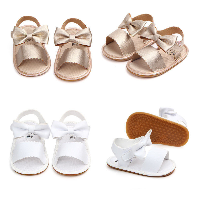 2018 Brand New Toddler Summer Sandals Cute Newborn Infant Baby Girls Bowknot Princess Shoes PU Non-slip Rubber Shoes Size 0-18M