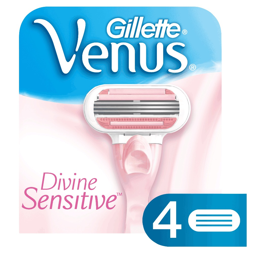 Replaceable Razor Blades for Women Gillette Venus Devine Sensitive 4 pcs Cassettes Shaving Venus shaving cartridge gillette shaving razor blades for men 6 count