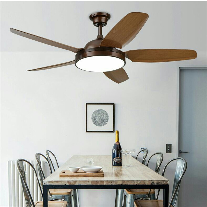 52 Inch Simple Ceiling Fan Lamp Fan Living Room PAC Imitation Wood Fan Bedroom Fan Lamp Coffee Shop Restaurant LED Lights