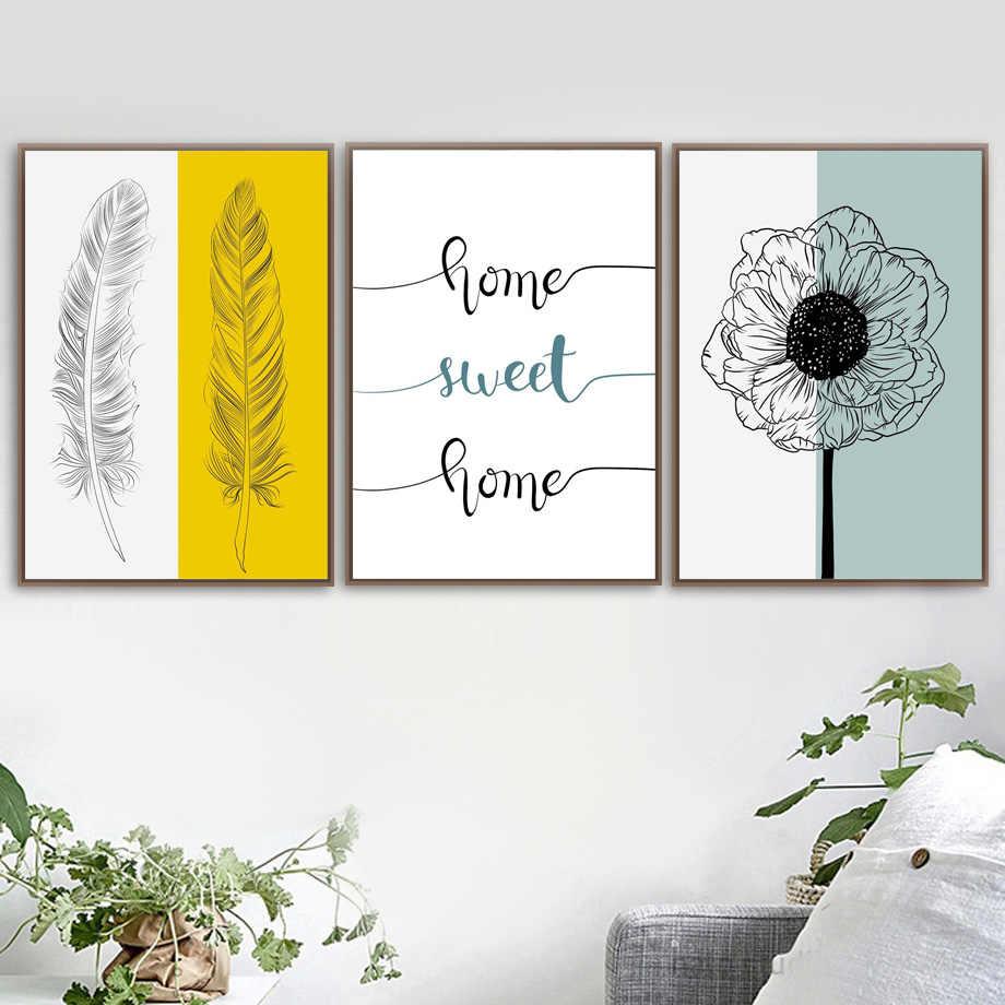 Plume fleurs citations mur Art toile peinture nordique affiches et impressions mur photos pour salon fille chambre décor à la maison