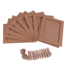 Kraft Paper Hanging Photo Frames with Clips and Rope 10 pcs/Set