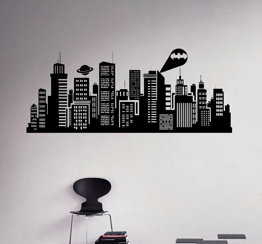 Gotham City  Vinyl wall Sticker Batman Comic Home Interior Wall Decorating Decal CS19