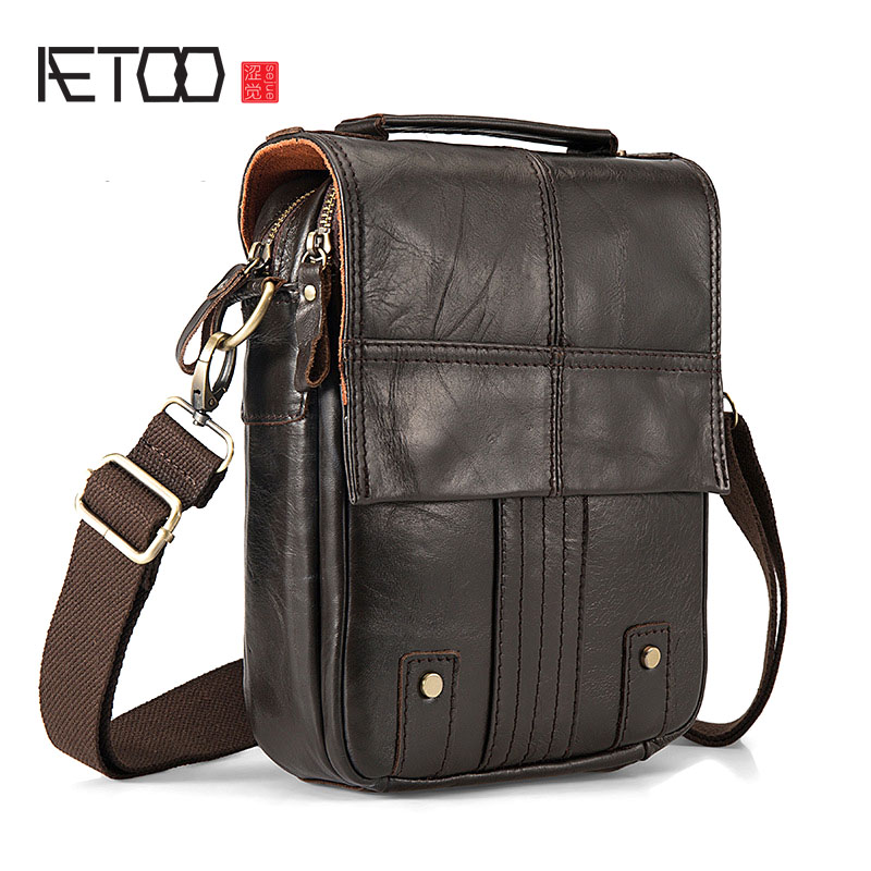 AETOO Europe and the United States retro oil wax leather leather men's 8 inch summer travel small shoulder diagonal package the imported oil wax pattern leather singel shoulder satchel small men s messager bag retro 7 inch for outdoor tourism